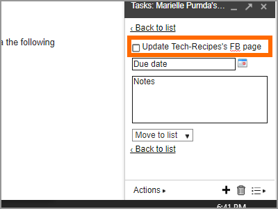 Gmail Menu Google Task Details Tick Complete