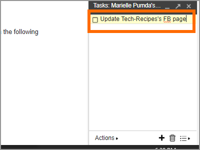 Gmail Menu Google Task add a task Type in Title