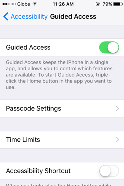Guided Access Enabled