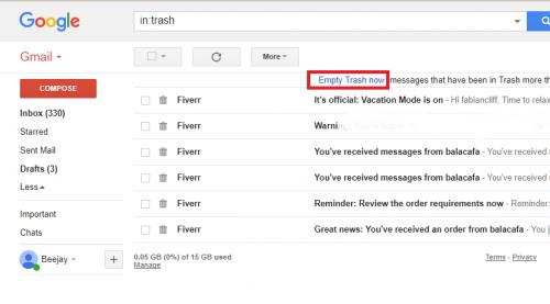 empty gmail trash
