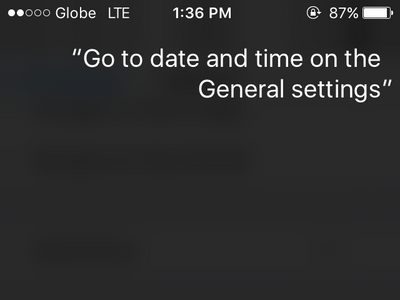 iPhone Ask Siri to go to Settings General Date and Time