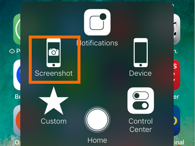 iPhone Assitive Touch Button Screenshot