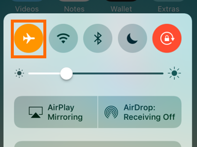 iPhone Control Center Airplane Mode icon