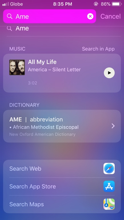 iPhone Search Page