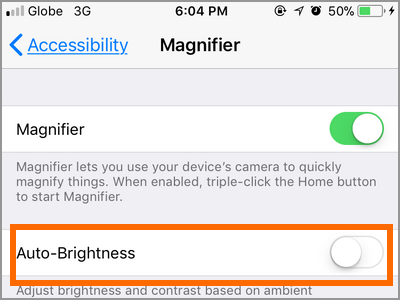 iPhone Settings Accessibility Magnifier Auto Brightness