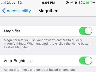 iPhone Settings Accessibility Magnifier Enabled
