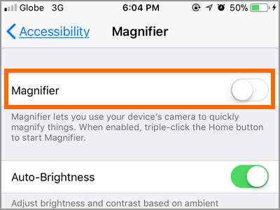 iPhone Settings Accessibility Magnifier Switch