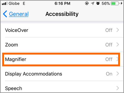 iPhone Settings Accessibility Magnifier