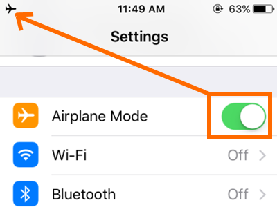 iPhone Settings Airplane Mode Switched ON