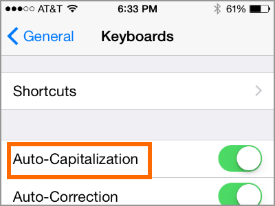 iPhone Settings Auto Capitalization