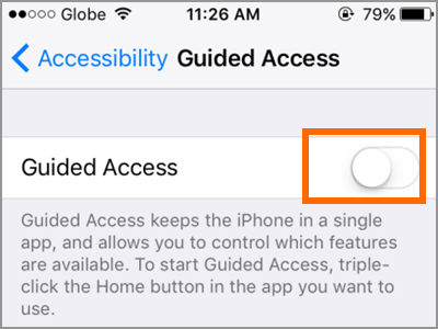 iPhone Settings General Accessibility Guided Access Switch