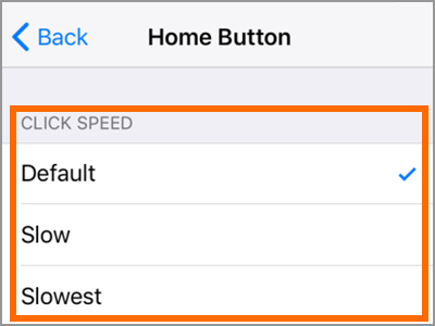 iPhone Settings General Accessibility Home button Click Speed