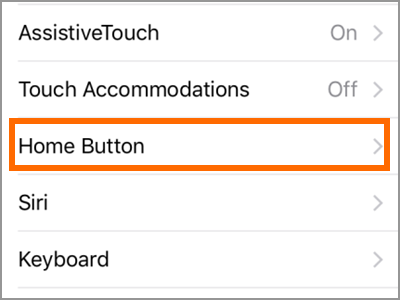 iPhone Settings General Accessibility Home button