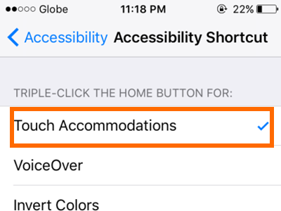 iPhone Settings General Accessibility Shortcut Touch Accommodations