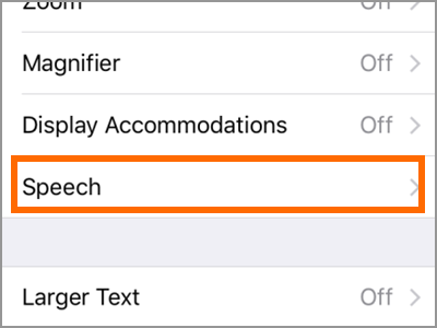 iPhone Settings General Accessibility Speech
