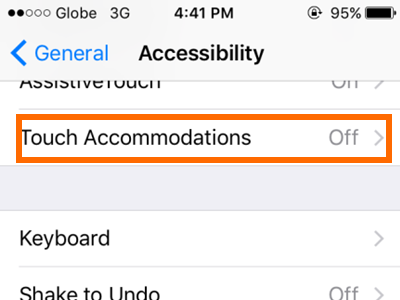 iPhone Settings General Accessibility Touch Accommodations
