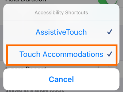 iPhone Settings General Accessibility Touch on Accessibility Shortcut