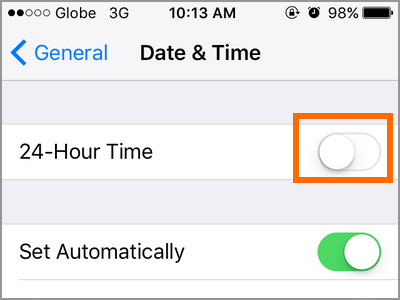 iPhone Settings General Date and Time 24H time