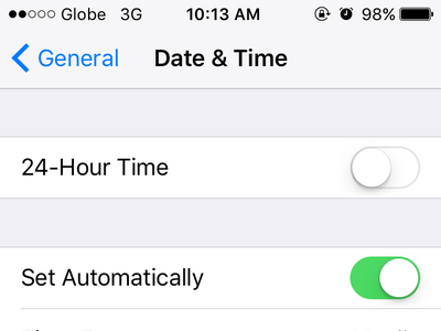 iPhone Settings General Date and Time Menu
