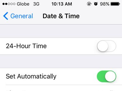 iPhone Settings General Date and Time Menu