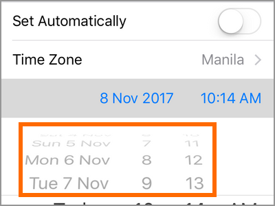 iPhone Settings General Date and Time Set Time Automatically OFF Choose time