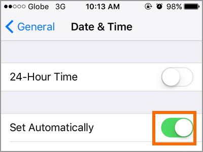 iPhone Settings General Date and Time Set Time Automatically
