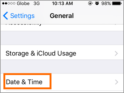 iPhone Settings General Date and Time