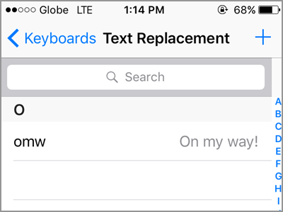 iPhone Settings General Keyboard Text Replacement Page