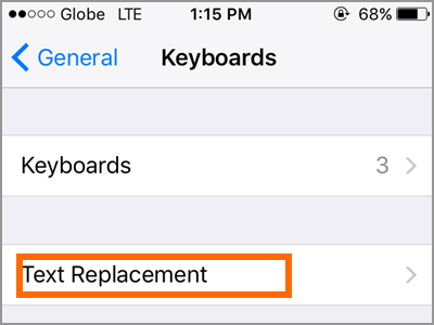 iPhone Settings General Keyboard Text Replacement
