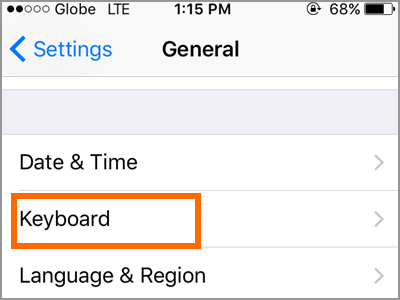 iPhone Settings General Keyboard