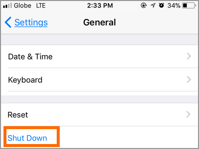 iPhone Settings General Scroll Down Shut Down