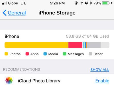 iPhone Settings General Storage