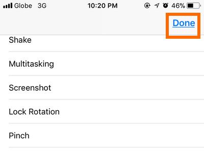 iPhone Settings Top Level Menu Choose Button Done