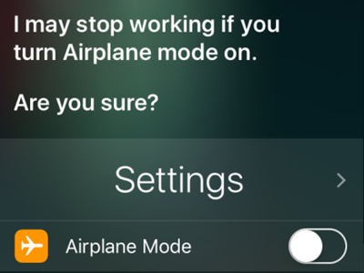 iPhone Siri Turn on Flight Mode Confirm