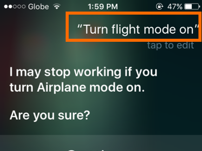 iPhone Siri Turn on Flight Mode