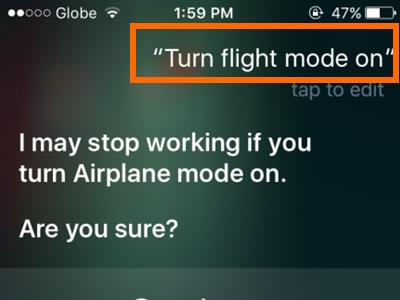 iPhone Siri Turn on Flight Mode