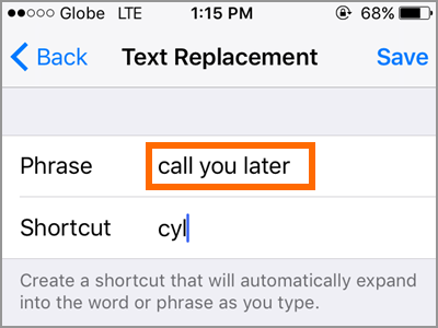 iPhone Text Replacement Add Text Type Phrase
