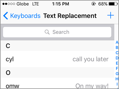 iPhone Text Replacement Add Text Type Shortcut Saved