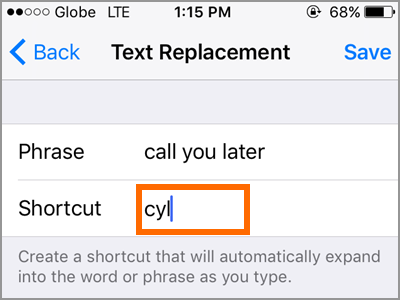 iPhone Text Replacement Add Text Type Shortcut