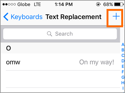 iPhone Text Replacement Add Text