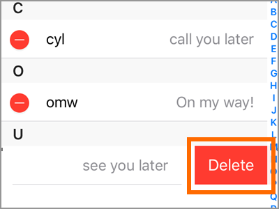 iPhone Text Replacement Edit Choose to delete button