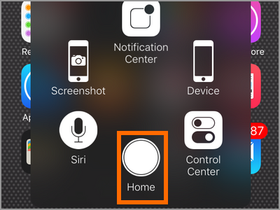 iPhone X Assistive Touch Home