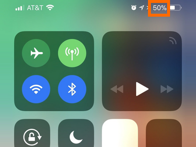 iPhone X Control Center Showing Battery Percentage