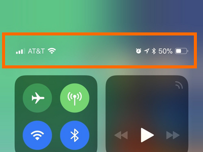 iPhone X Control Center With Status icon