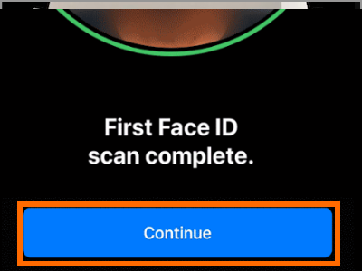 iPhone X Face ID and Passcode Setup Face ID Continue