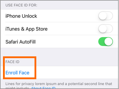iPhone X Face ID and Passcode Setup Face ID or Enroll Face ID