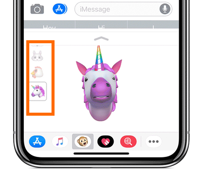 iPhone X Message App Animoji List