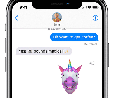 iPhone X Message App Animoji Sent