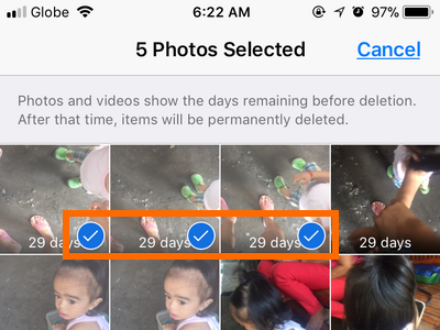 iPhone photos Recently deleted Select photos