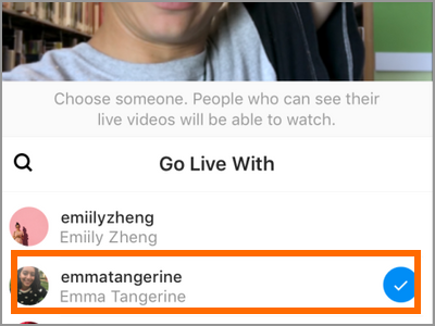 instagram Start Live Video Tap a friend name